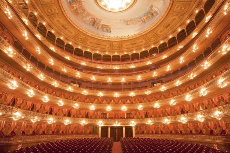 Interior of Teatro Colon all lit up on a private tour of Buenos Aires