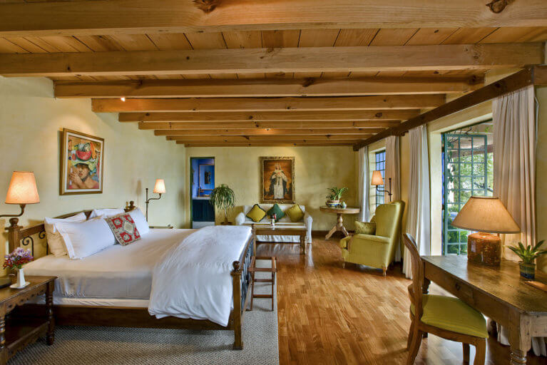 Luxury room at Casa Palopo on a private tour of Guatemala