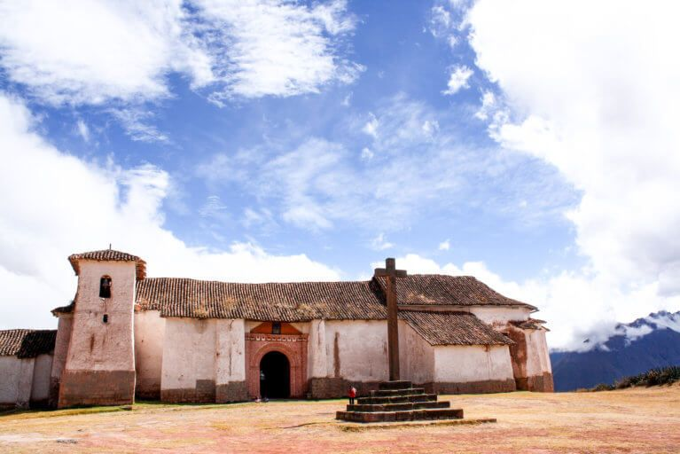 Old Peruvian stone church in the Sacred Valley