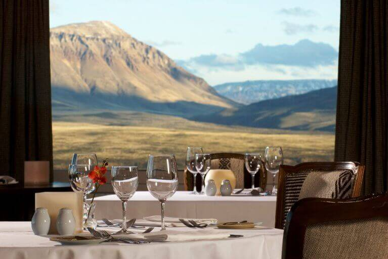 Views from the dining room in Eolo Hotel during a luxury Patagonia tour