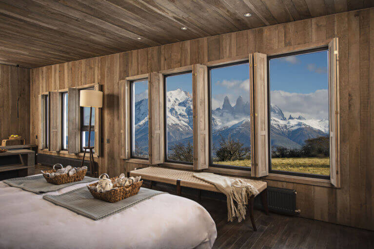 Mountain views from luxury suite at Awasi Hotel, Patagonia