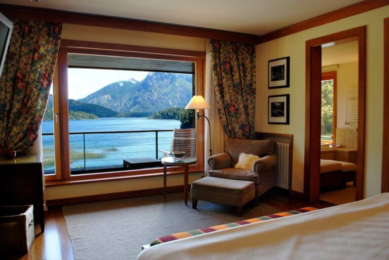 A room at the Llao Llao Hotel with views of the Argentine Lake District on a luxury trip to Argentina
