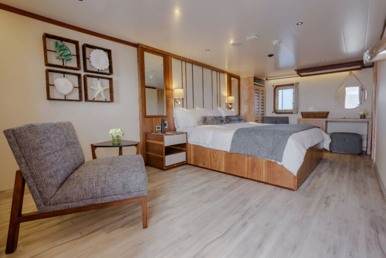 Bedroom on the luxury Evolution Cruise in the Galapagos Islands, Ecuador