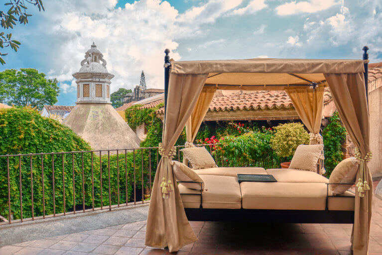 Terrace at the El Convento Hotel in Antigua during a luxury Guatemala tour