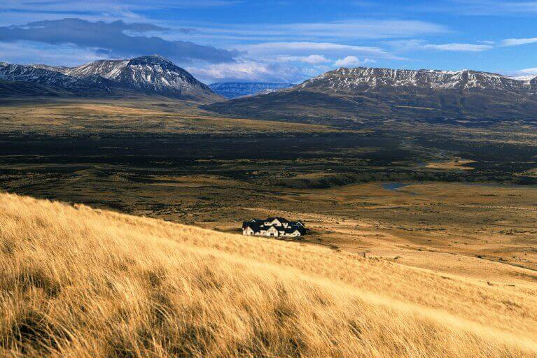 View of luxury Eolo Hotel in Patagonia immersed in nature with no neighbors in sight