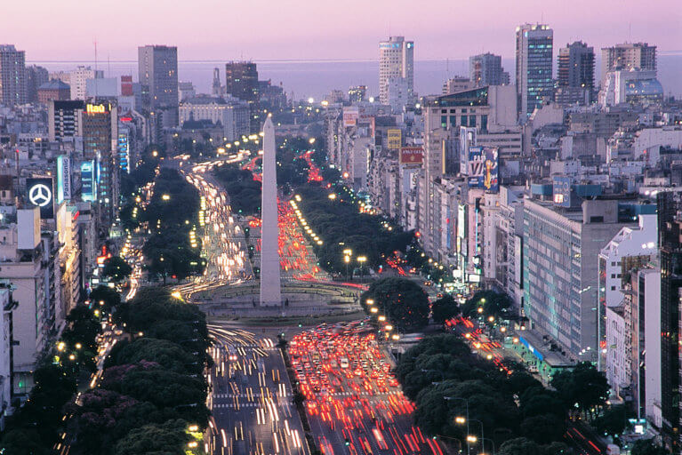 Aerial shot of Avenida 9 de Julio at sunset in Buenos Aires