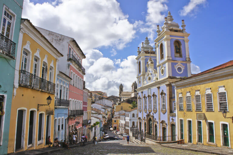 Colorful houses in Pelourinho, the historical centre of Salvador during a luxury trip to Brazil
