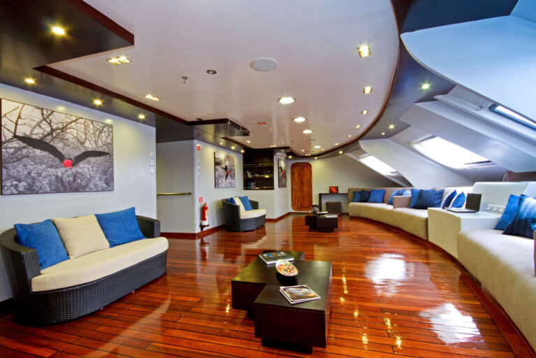 Living room of Ocean Spray luxury cruise Galapagos Islands