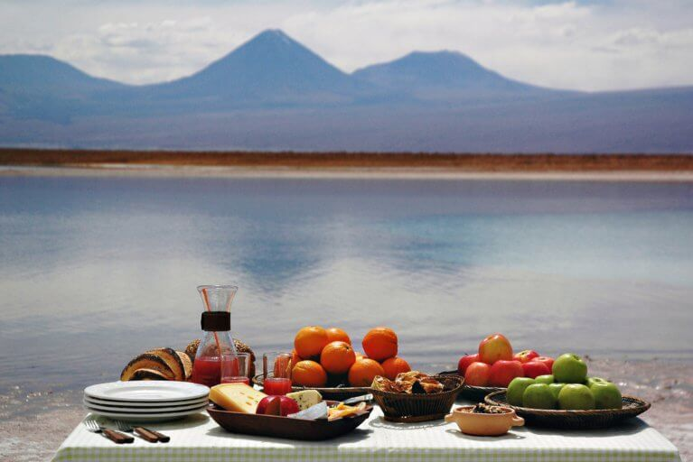 Private picnic set up in the Atacama during a private tour of Chile