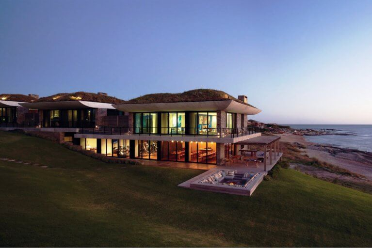 Exterior of Playa Vik in Uruguay in the evening during luxury south america trip