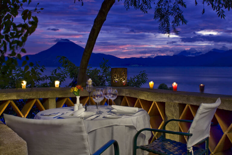 Romantic sunset meal for two with view of volcano at Casa Palopo