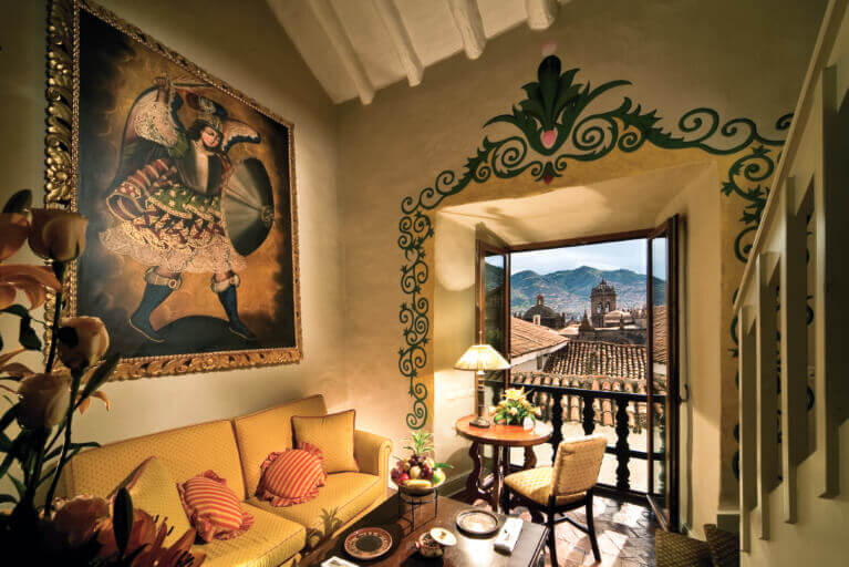 Room with a view in the Monasterio Hotel in Cusco on a private Peru tour