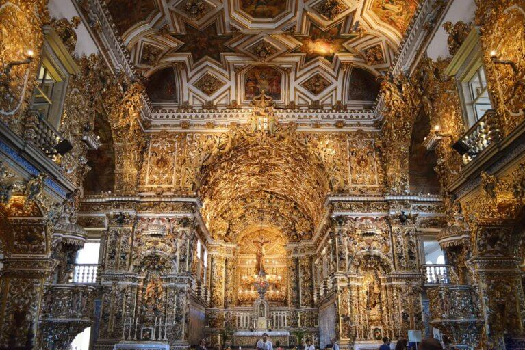 Gold interior of São Francisco Church, Salvador de Bahia, on a luxury tour of Brazil