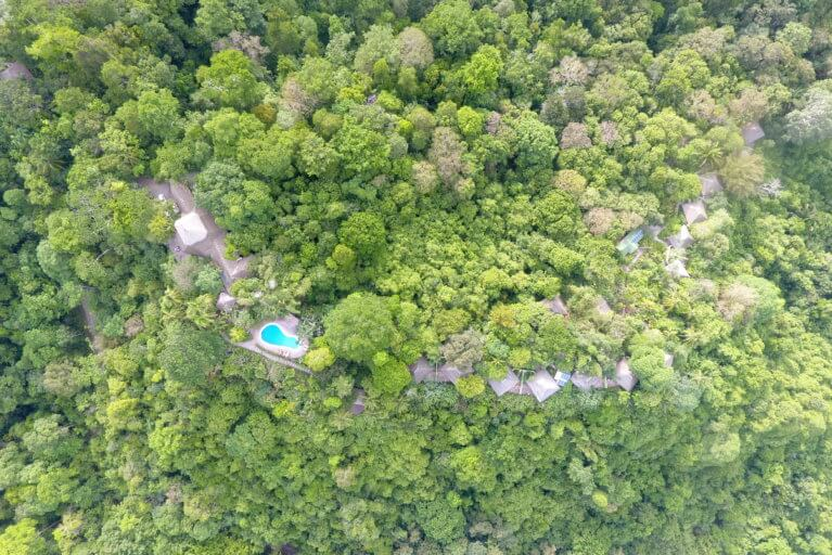 Aerial view of Lapa Rios and rainforest during a luxury Costa Rica tour
