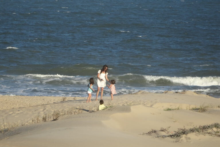 Family on Jose Ignacio beach during a luxury Uruguay tour