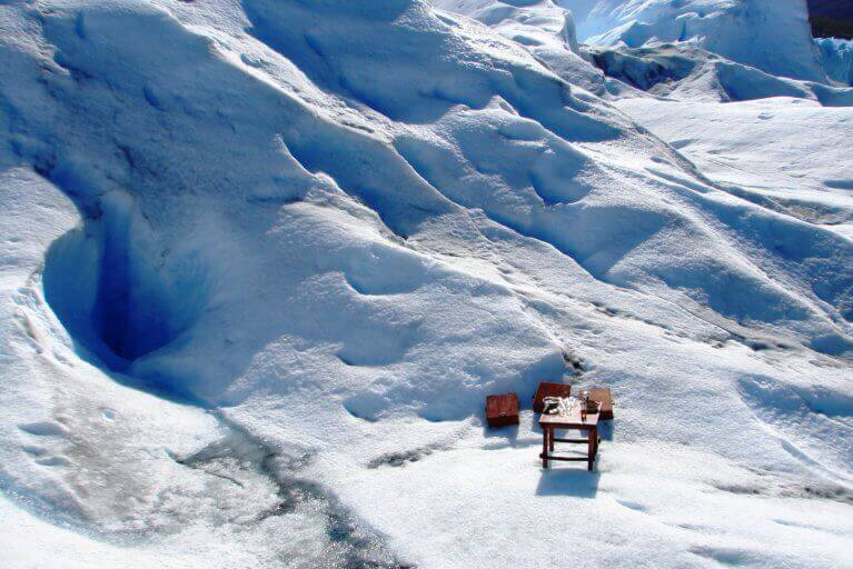 Private picnic in the glaciers of Patagonia