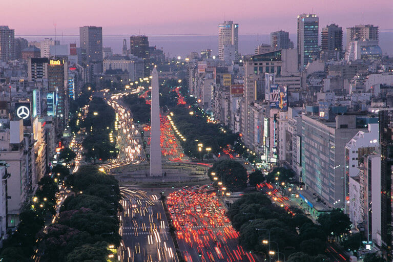 Sunset aerial view of Avenida 9 de Julio and the Obelisco in Buenos Aires during luxury argentina trip