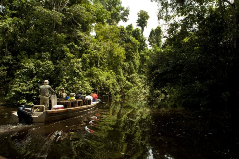 A local guide gives a private tour of the Amazon river by boat