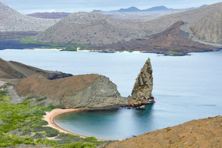 Bird's eye view of land and sea on a Galapagos Islands luxury trip