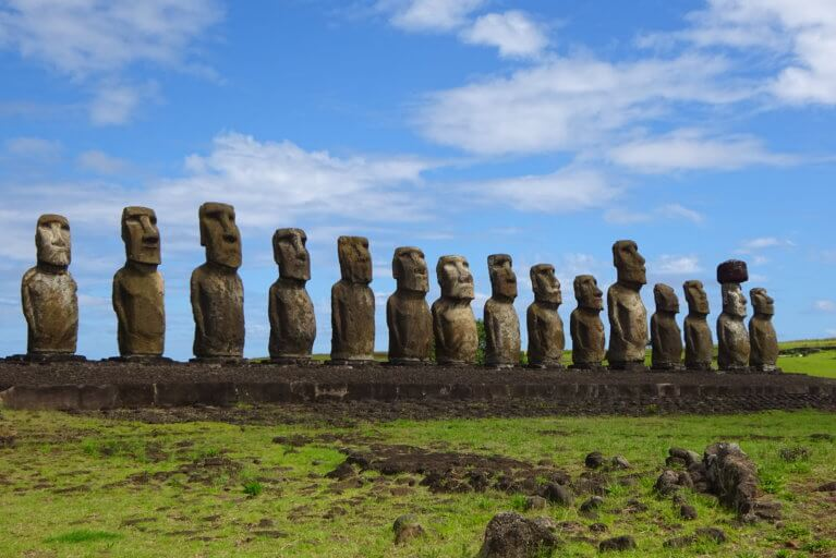 Line of Moai statues at Easter Island as seen on a luxury Chile trip