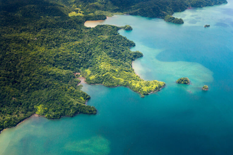 Aerial view of Osa Peninsula rainforest and ocean during private tour of Costa Rica