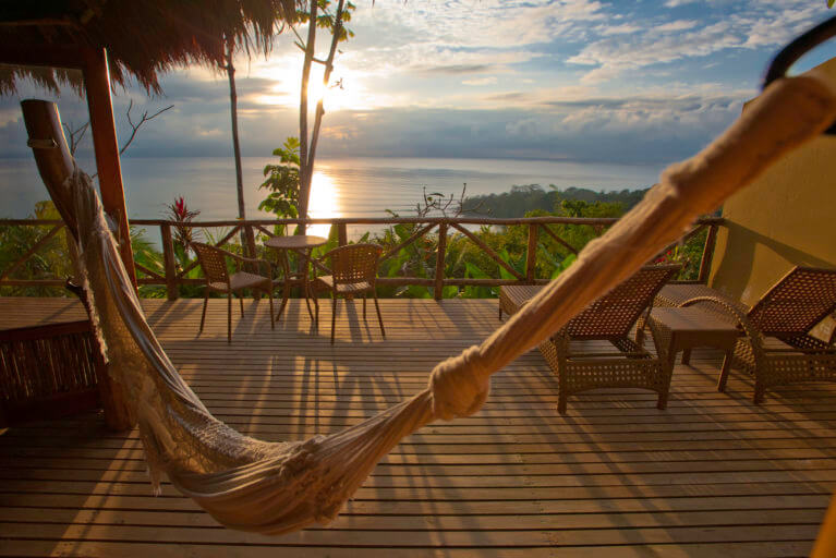 Sunset and hammock on the Lapa Rios terrace during a private Costa Rica tour