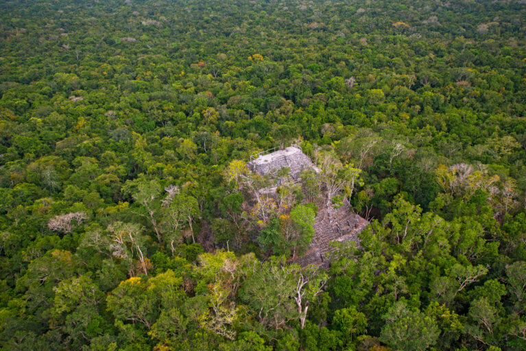 Aerial view of El Mirador pyramid amidst the jungle while on luxury tour by helicopter