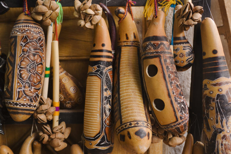 Close up of traditional Peruvian wooden musical instruments