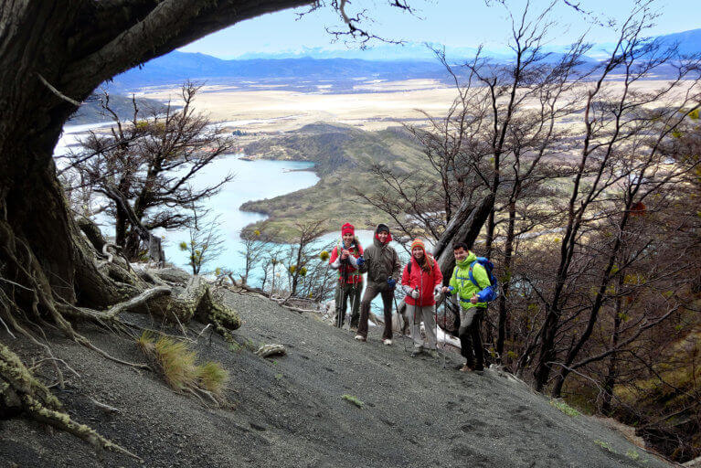 Four people hiking on a luxury tour of Patagonia, Argentina