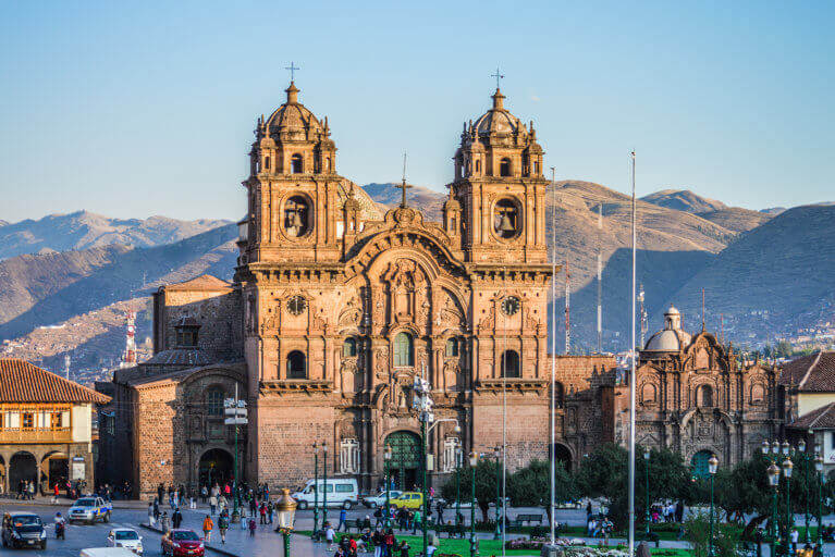Cathedral in Cusco's main square at sunset