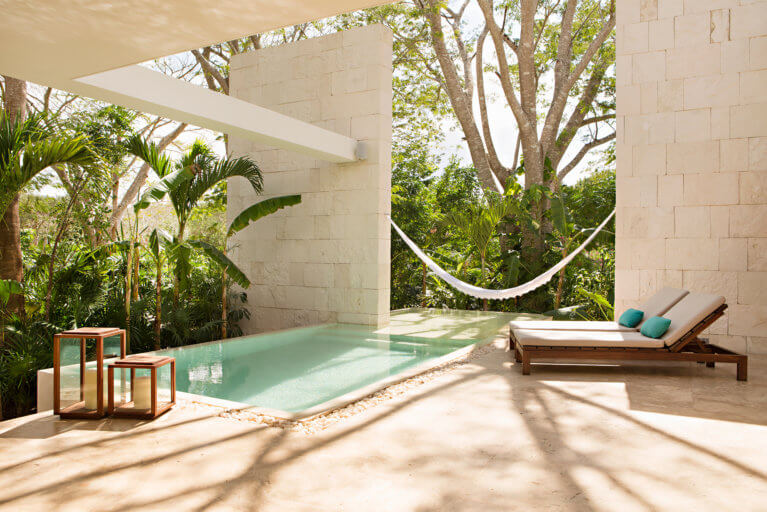 Private hammock and pool at the King Villa Exterior in Chable Resort Yucatan