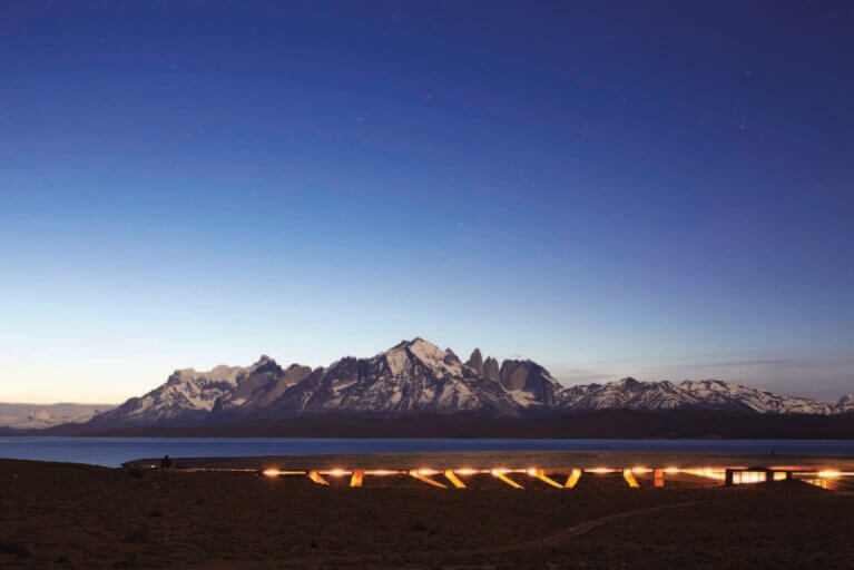 View of Tierra Patagonia at night during luxury Patagonia tour