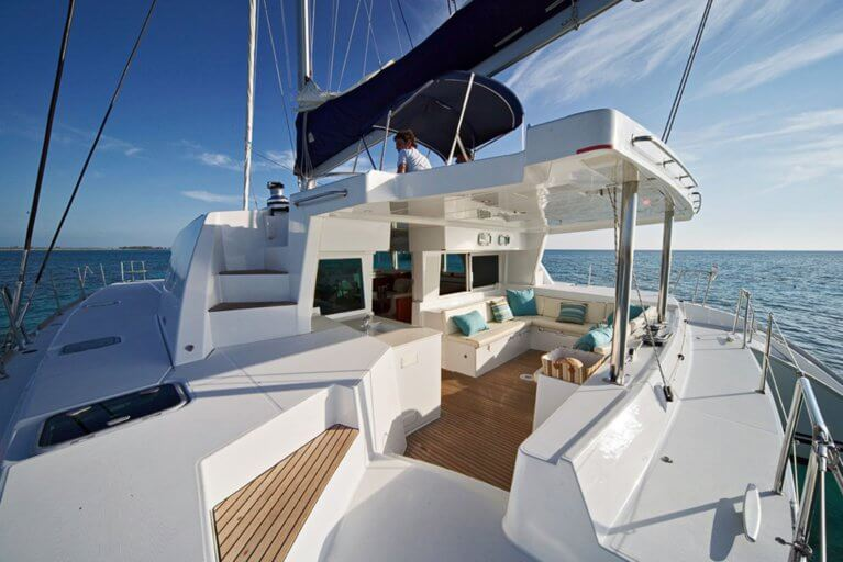 The deck of a private luxury catamaran in the San Blas Islands, Panama