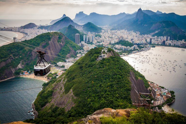 Aerial view of a cable car and the Sugar Loaf Mountain on a luxury trip to Rio de Janeiro, Brazil