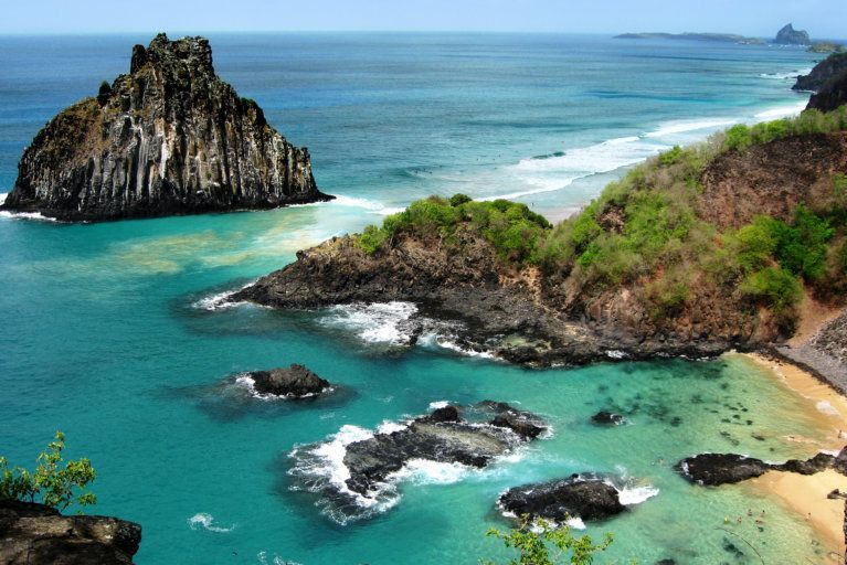Aerial view of Fernando de Noronha archipelago during luxury tour of Brazil