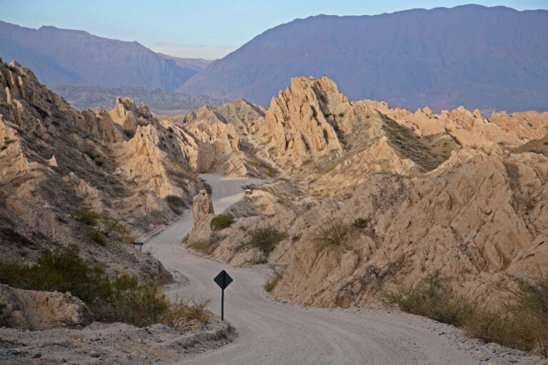 View of Quebrada de las Flechas and road in Salta during a private tour of Argentina