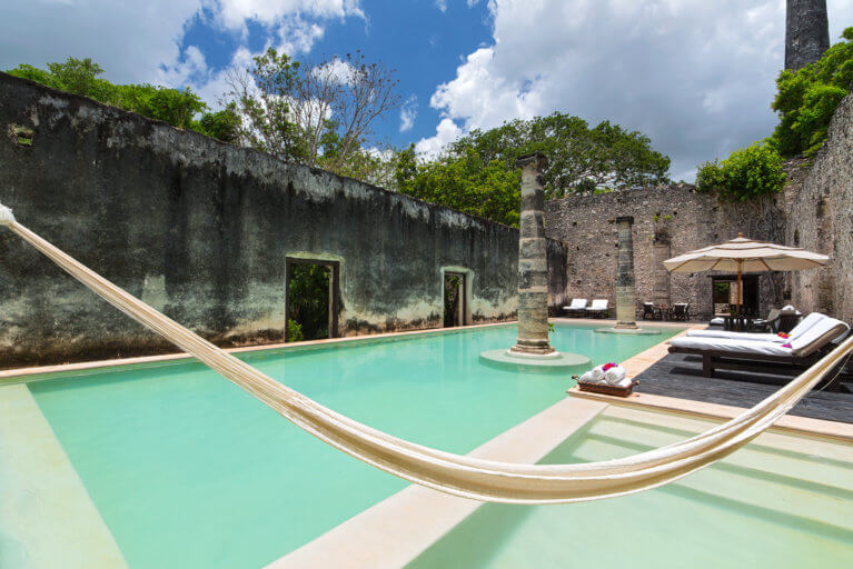 Main pool at the Hacienda Uayamon during a luxury trip to the Yucatan