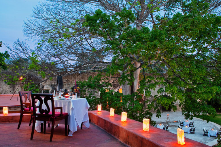 Private romantic dinner for two at Hacienda Uayamon on a luxury Yucatan tour