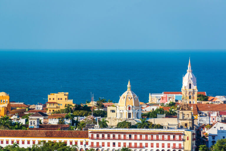 Cartagena cityscape with backdrop of sea