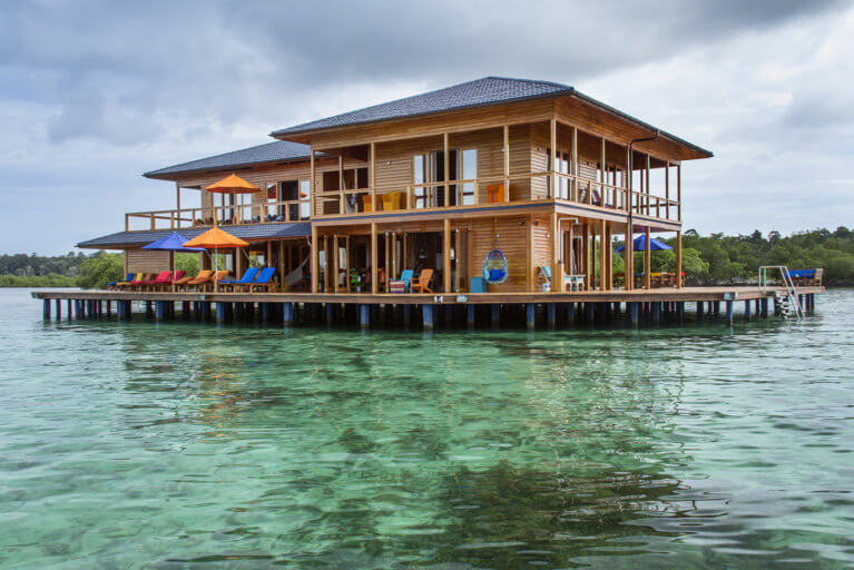 Private villa built on stilts in the sea in Boca del Toro on a luxury Panama trip