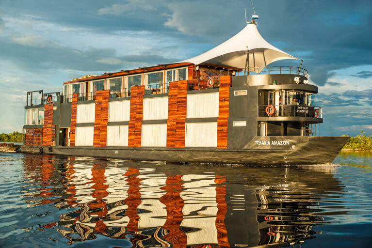The Aria cruise boat on the Amazon river during a luxury trip to the Amazon