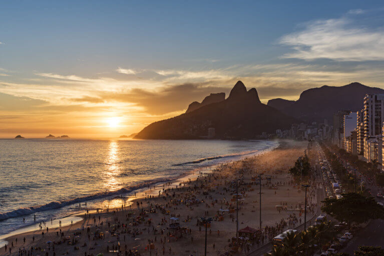 View of Rio de Janeiro's Ipanema Beach at sunset from the Hotel Fasano on a luxury trip