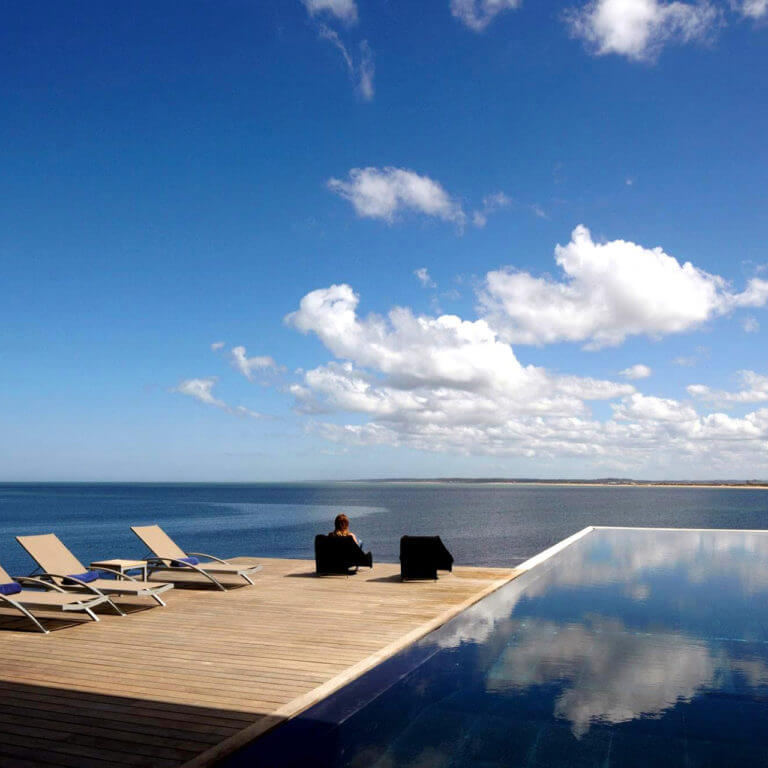 Pool and sea views at Bahia Vik, during luxury trip to Uruguay