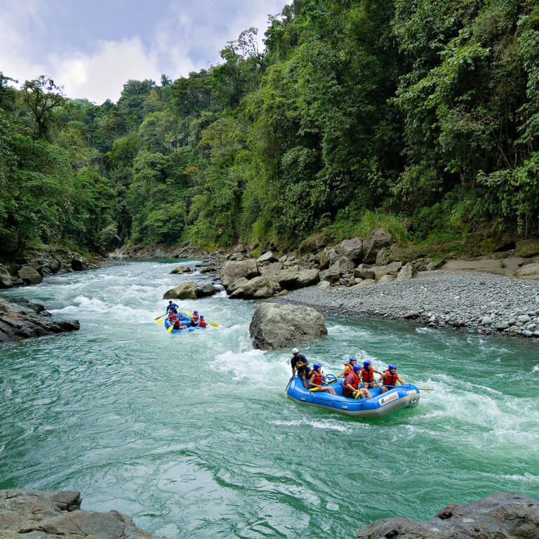 Small group white water rafting during luxury costa rica tour