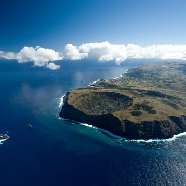 Aerial view of Easter Island during luxury Chile tour
