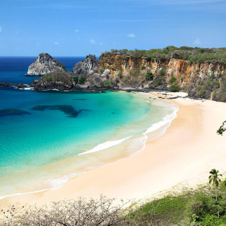 aerial view of beautiful beach during luxury tour of Fernando de Noronha, Brazil