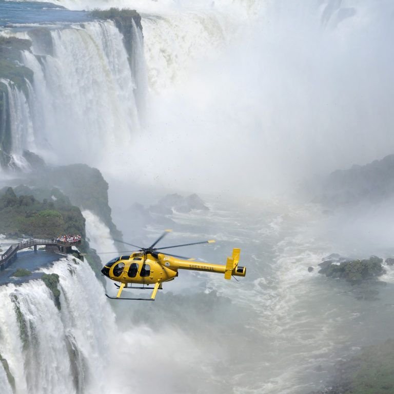 Private helicopter ride over Iguassu Falls during luxury brazil tour