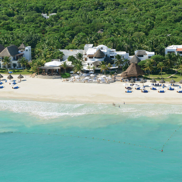 Aerial view of beach and jungle in Yucatan, during luxury Mexico trip