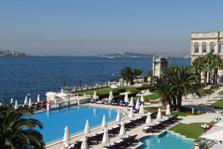 Outdoor pool at the Four Seasons and sea views during luxury Turkey tour