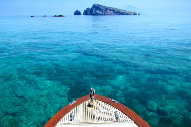 View of sea on private boat excursion during luxury tour of the Aeolian Islands